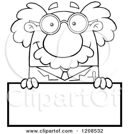 Cartoon of an Outlined Science Professor over a Sign - Royalty Free Vector Clipart by Hit Toon