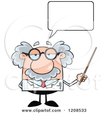 Cartoon of a Science Professor Holding a Pointer Stick and Talking - Royalty Free Vector Clipart by Hit Toon