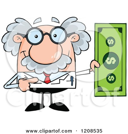 Cartoon of a Science Professor Holding a Dollar Bill - Royalty Free Vector Clipart by Hit Toon