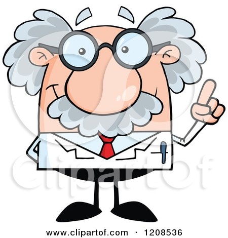 Cartoon of a Science Professor with an Idea, Holding up a Finger - Royalty Free Vector Clipart by Hit Toon