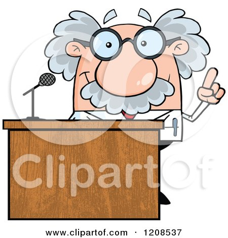 Cartoon of a Science Professor Speaking Behind a Podium - Royalty Free Vector Clipart by Hit Toon