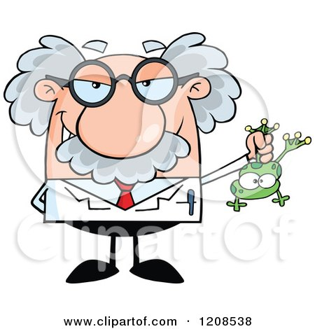Cartoon of a Science Professor Holding a Frog - Royalty Free Vector Clipart by Hit Toon