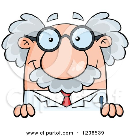 Cartoon of a Science Professor Smiling over a Sign - Royalty Free Vector Clipart by Hit Toon