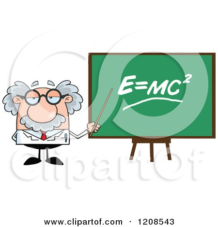 Cartoon of a Science Professor Holding a Pointer Stick to a Physics Board - Royalty Free Vector Clipart by Hit Toon