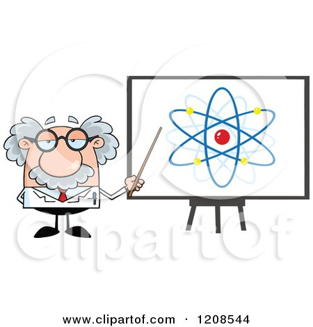 Cartoon of a Science Professor Holding a Pointer Stick to an Atom on a Board Board - Royalty Free Vector Clipart by Hit Toon