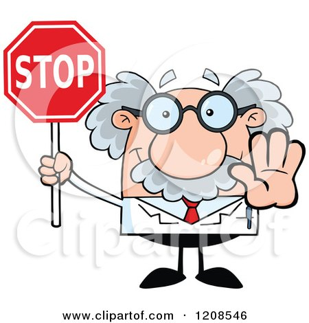 Cartoon of a Science Professor Holding out a Hand and Stop Sign - Royalty Free Vector Clipart by Hit Toon