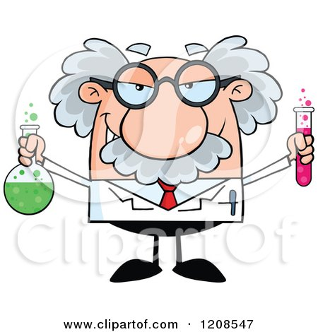 Cartoon of a Science Professor Holding a Flask and Tube - Royalty Free Vector Clipart by Hit Toon
