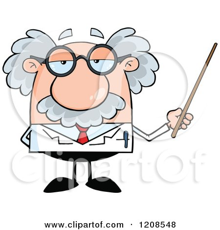 Cartoon of a Science Professor Holding a Pointer Stick - Royalty Free Vector Clipart by Hit Toon