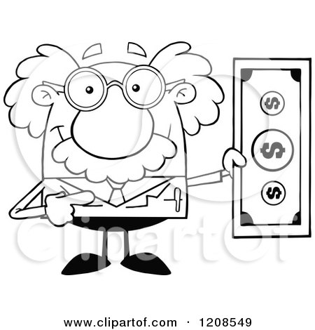 Cartoon of an Outlined Science Professor Holding a Dollar Bill - Royalty Free Vector Clipart by Hit Toon