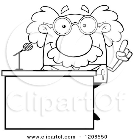 Cartoon of an Outlined Science Professor Speaking Behind a Podium - Royalty Free Vector Clipart by Hit Toon