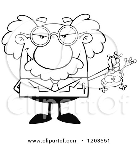 Cartoon of an Outlined Science Professor Holding a Frog - Royalty Free Vector Clipart by Hit Toon