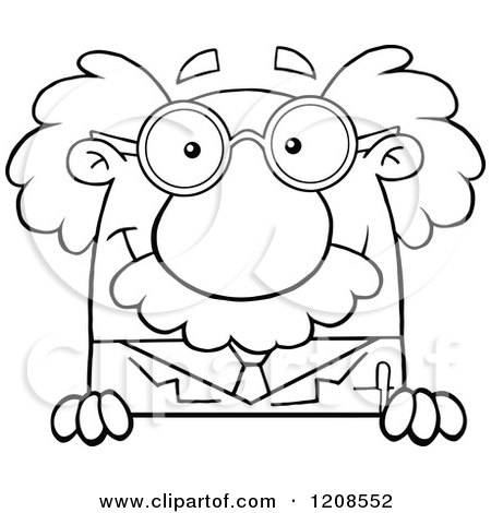 Cartoon of an Outlined Science Professor Smiling over a Sign - Royalty Free Vector Clipart by Hit Toon