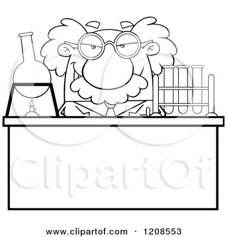 Cartoon of an Outlined Science Professor Conducting an Experiment - Royalty Free Vector Clipart by Hit Toon