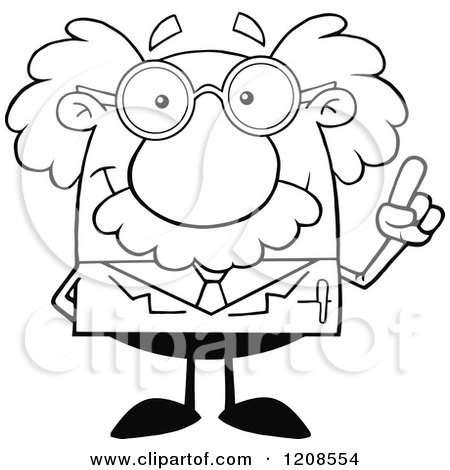 Cartoon of an Outlined Science Professor with an Idea, Holding up a Finger - Royalty Free Vector Clipart by Hit Toon