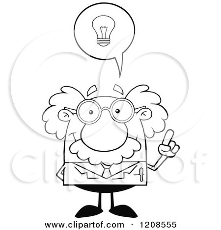 Cartoon of an Outlined Science Professor with an Idea - Royalty Free Vector Clipart by Hit Toon