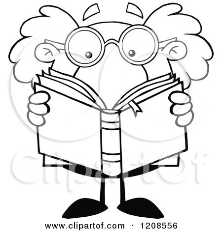 Cartoon of an Outlined Science Professor Reading a Book - Royalty Free Vector Clipart by Hit Toon