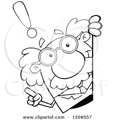 Cartoon of an Outlined Science Professor with an Idea, Looking Around a Sign - Royalty Free Vector Clipart by Hit Toon