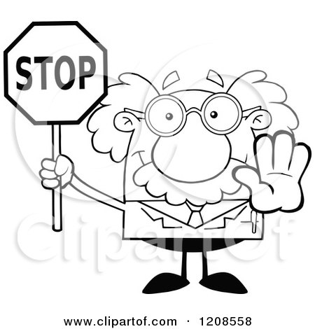 Cartoon of an Outlined Science Professor Holding out a Hand and Stop Sign - Royalty Free Vector Clipart by Hit Toon