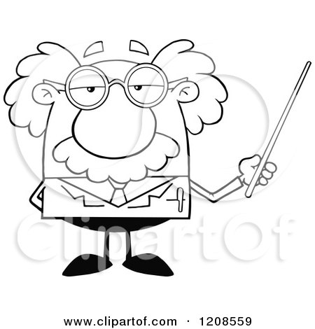 Cartoon of an Outlined Science Professor Holding a Pointer Stick - Royalty Free Vector Clipart by Hit Toon