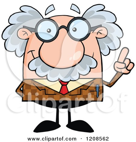 Cartoon of a Professor Holding up an Idea Finger - Royalty Free Vector Clipart by Hit Toon