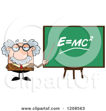 Cartoon of a Professor Holding a Pointer Stick to a Physics Chalk Board - Royalty Free Vector Clipart by Hit Toon