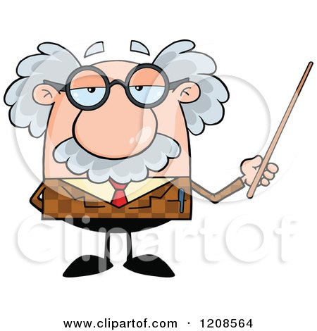 Cartoon of a Professor Holding a Pointer Stick - Royalty Free Vector Clipart by Hit Toon