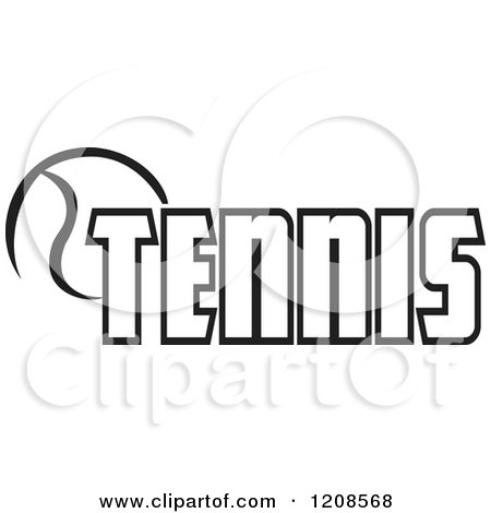 Clipart of a Black and White Ball and TENNIS Text 2 - Royalty Free Vector Illustration by Johnny Sajem