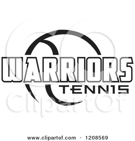 Clipart of a Black and White Tennis Ball and WARRIORS Team Text - Royalty Free Vector Illustration by Johnny Sajem