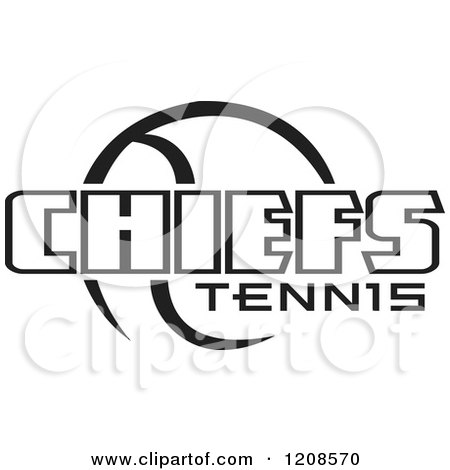 Clipart of a Black and White Tennis Ball and CHIEFS Team Text - Royalty Free Vector Illustration by Johnny Sajem
