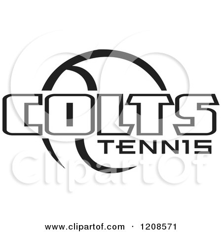 Clipart of a Black and White Tennis Ball and COLTS Team Text - Royalty Free Vector Illustration by Johnny Sajem