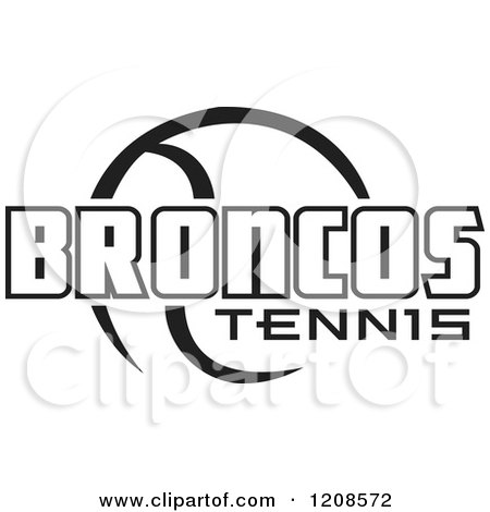 Clipart of a Black and White Tennis Ball and BRONCOS Team Text - Royalty Free Vector Illustration by Johnny Sajem