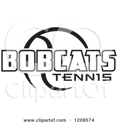 Clipart of a Black and White Tennis Ball and BOBCATS Team Text - Royalty Free Vector Illustration by Johnny Sajem