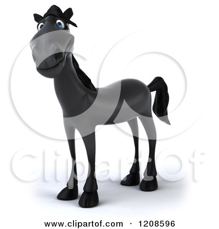 Clipart of a 3d Happy Black Horse - Royalty Free CGI Illustration by Julos
