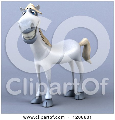 Clipart of a 3d Happy White Horse, on Shading - Royalty Free CGI Illustration by Julos