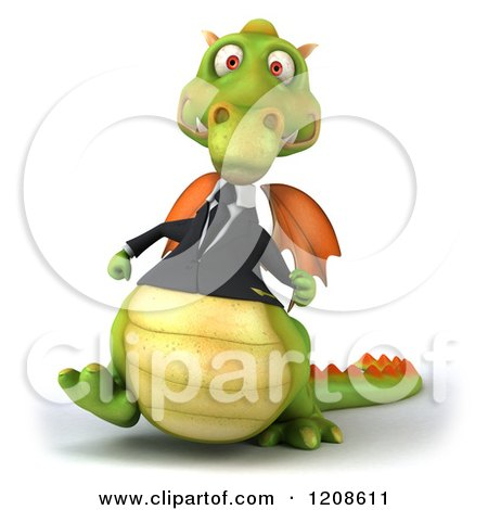 Clipart of a 3d Green Business Dragon Walking - Royalty Free CGI Illustration by Julos