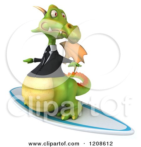 Clipart of a 3d Green Business Dragon Surfing 3 - Royalty Free CGI Illustration by Julos
