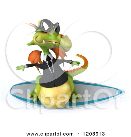 Clipart of a 3d Green Business Dragon Wearing Sunglasses and Surfing - Royalty Free CGI Illustration by Julos