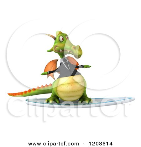 Clipart of a 3d Green Business Dragon Surfing 2 - Royalty Free CGI Illustration by Julos