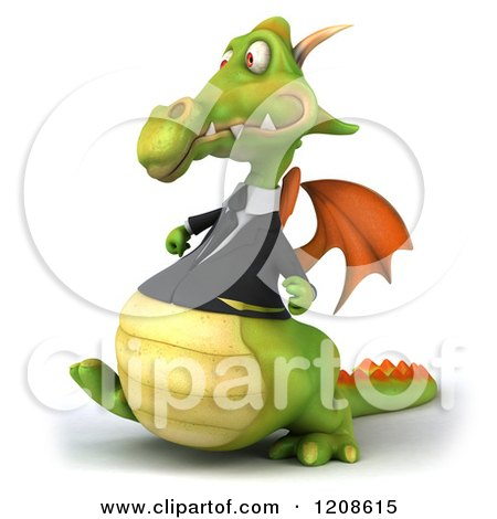 Clipart of a 3d Green Business Dragon Walking 2 - Royalty Free CGI Illustration by Julos