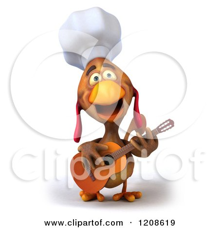 3d Chef Chicken Playing a Guitar Posters, Art Prints