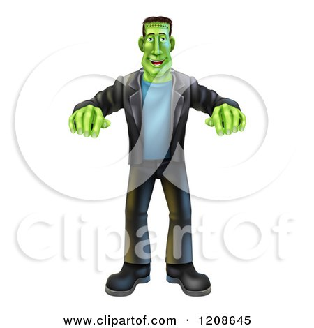 Cartoon of a Happy Halloween Frankenstein Walking with His Arms out - Royalty Free Vector Clipart by AtStockIllustration