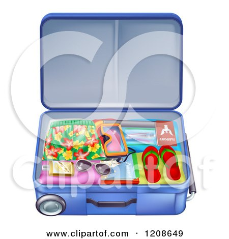 Cartoon of a Packed Travel Suitcase with Summer Gear - Royalty Free Vector Clipart by AtStockIllustration