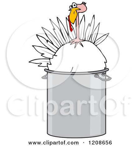 Cartoon of a Live Turkey Bird in a Pot - Royalty Free Vector Clipart by djart