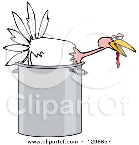 Cartoon of a Live White Turkey Bird in a Pot - Royalty Free Vector Clipart by djart