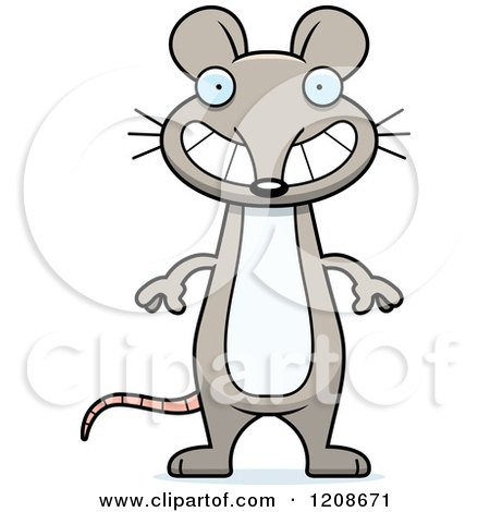 Cartoon of a Happy Grinning Skinny Mouse - Royalty Free Vector Clipart by Cory Thoman