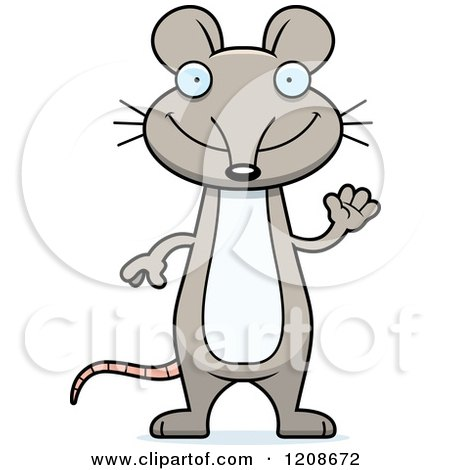 Cartoon of a Waving Skinny Mouse - Royalty Free Vector Clipart by Cory Thoman