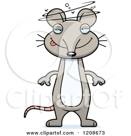 Animal Clipart Of A Black And White Cartoon Happy Mouse