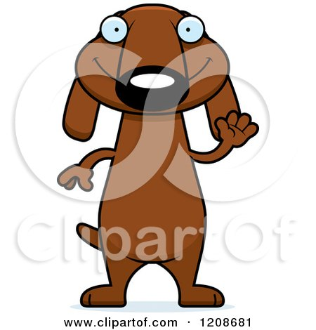 Cartoon of a Waving Skinny Dachshund Dog - Royalty Free Vector Clipart by Cory Thoman