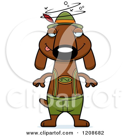Cartoon of a Drunk Skinny German Oktoberfest Dachshund Dog Wearing Lederhosen - Royalty Free Vector Clipart by Cory Thoman