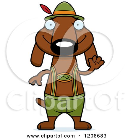 Cartoon of a Waving Skinny German Oktoberfest Dachshund Dog Wearing Lederhosen - Royalty Free Vector Clipart by Cory Thoman